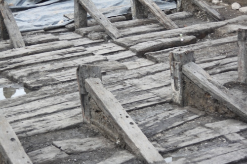 Excavated timber slipways 2011. Image by Ann Coats.