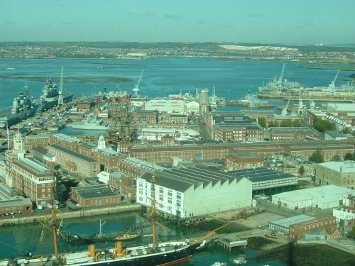Spinnaker Tower view north: Portsmouth's buildings, basins and historic ships. Image by J. D. Davies.