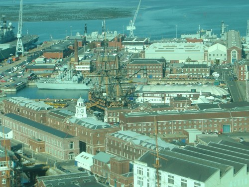 Spinnaker Tower view north: HMS Victory, Mary Rose, Block Mills. Image by J. D. Davies.