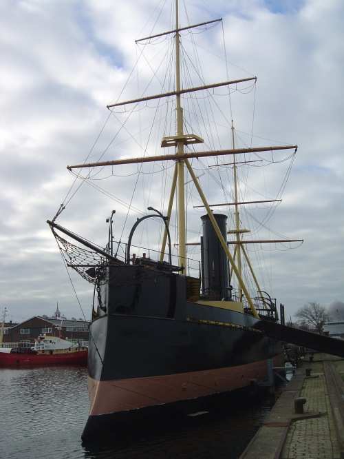 Preserved monitor/ram HNLMS Schorpioen, launched in France in 1868, used as an accommodation ship 1906–82 (including by German forces in the Second World War). Image by J. D. Davies.