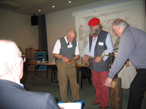 Making a 15' length of twice-laid rope at the NDS AGM (2009). Image by A. Coats.