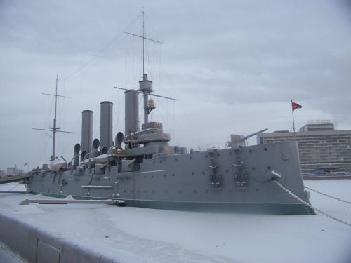 Preserved cruiser Aurora, built 1897–1900, which played a crucial part in the October Revolution 1917. Image by J. D. Davies.