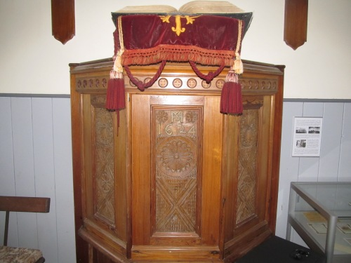 Hoy Kirk: pulpit allegedly made from panels salvaged from a Spanish Armada wreck. Image by J. D. Davies.