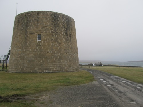 Hackness Martello Tower, Longhope, Hoy, built to protect anchorage from which Baltic convoys sailed during Napoleonic wars. Image by J. D. Davies.