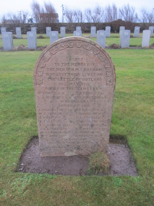 Lyness naval cemetery, Hoy: memorial stone to those killed on HMS Barham at Battle of Jutland. Image by J. D. Davies.
