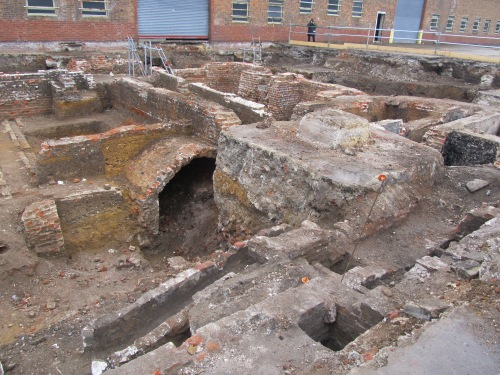 Foundations of Deptford officers' terrace. Image by J. D. Davies.