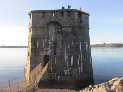 The West Gun Tower, built 1851 to protect the dockyard. Image by J. . Davies.
