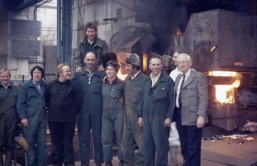 Last steel casting in Portsmouth Dockyard, 1982